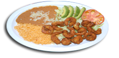 Large shrimp slightly breaded and fried served with Rice, Beans and Tortillas